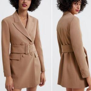 Zara Camel Belted Blazer XS